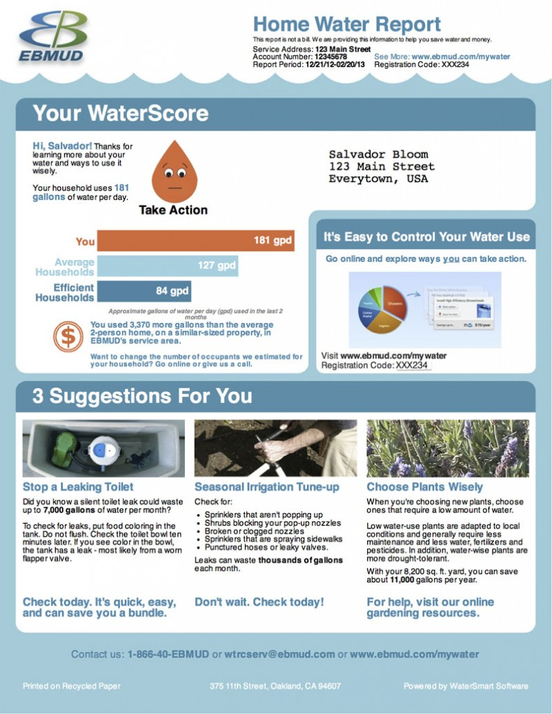 Click to enlarge - example of WaterSmart's statements for EBMUD customers.