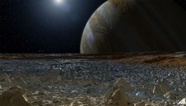 Illustration of Jupiter from the surface of Europa. NASA/JPL