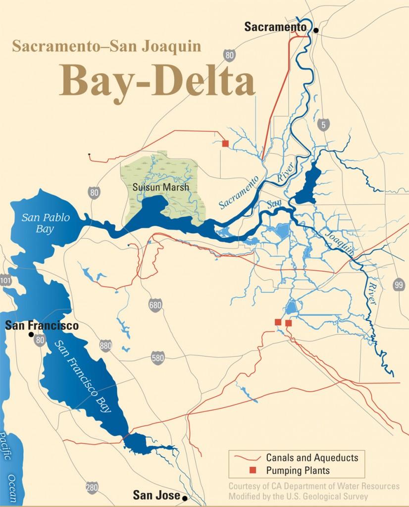 Map of the Sacramento-San Joaquin Bay Delta