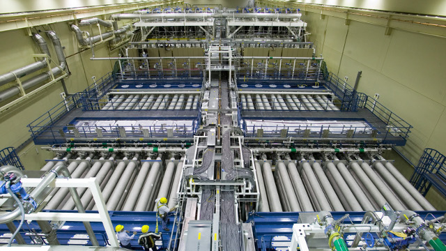 Inside NIF, a football-field sized array of lasers. (NIF)