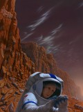 A future Mars colonist examines a rock on the martian surface