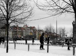 Lack of sunlight and cold weather favored lighter skin in Europe.  Image of Copenhagen courtesy of Wikimedia Commons.