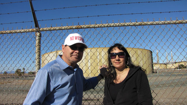 Pittsburg residents George and Lyana Monterrey are among those leading protests against the oil terminal. (Molly Samuel/KQED)