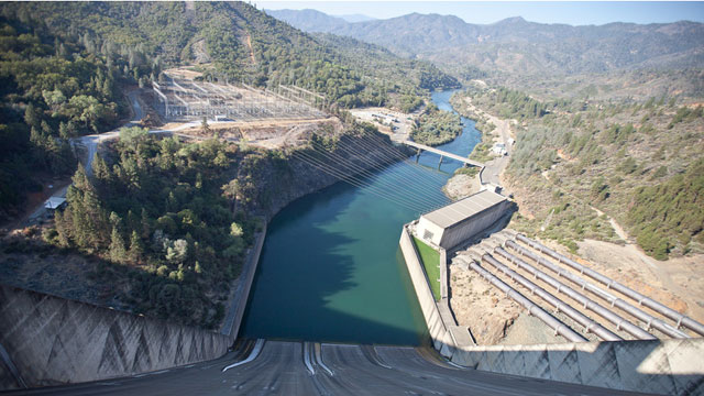 Shasta Dam generates hydropower, controls floods and provides water to the Central Valley Project. (Deborah Svoboda/KQED)