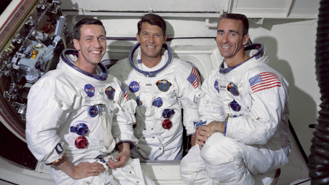 The Apollo 7 crew, from left to right: Command Module pilot, Donn F. Eisele, Commander, Walter M. Schirra Jr. and Lunar Module pilot, Walter Cunningham. (NASA)