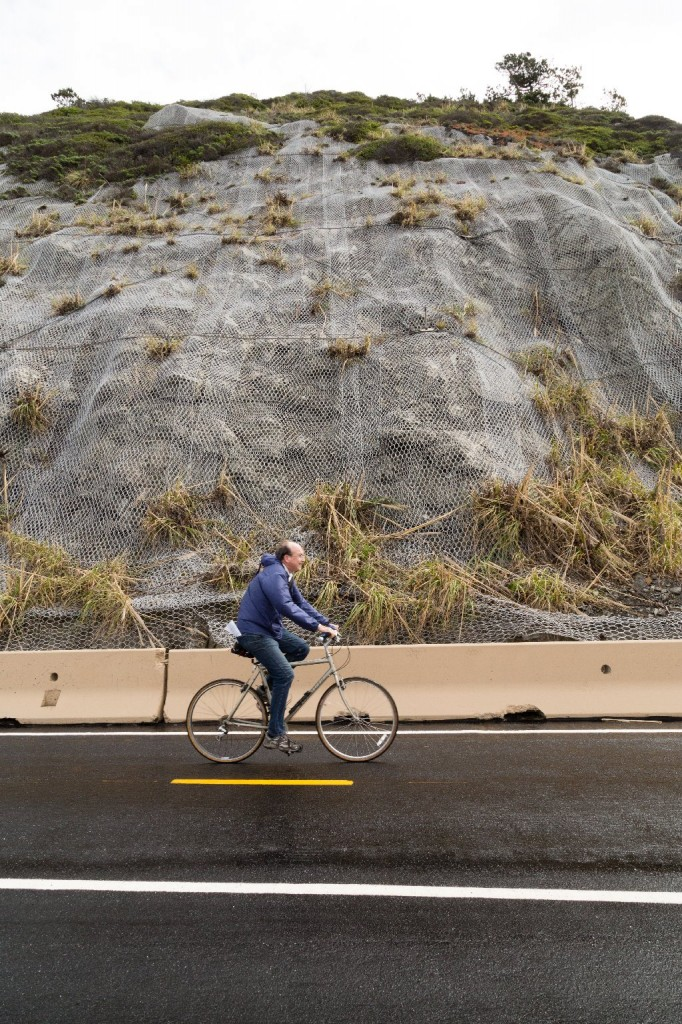 A bicyclist cruises along the Devil's Slide Trail. (Josh Cassidy/KQED)