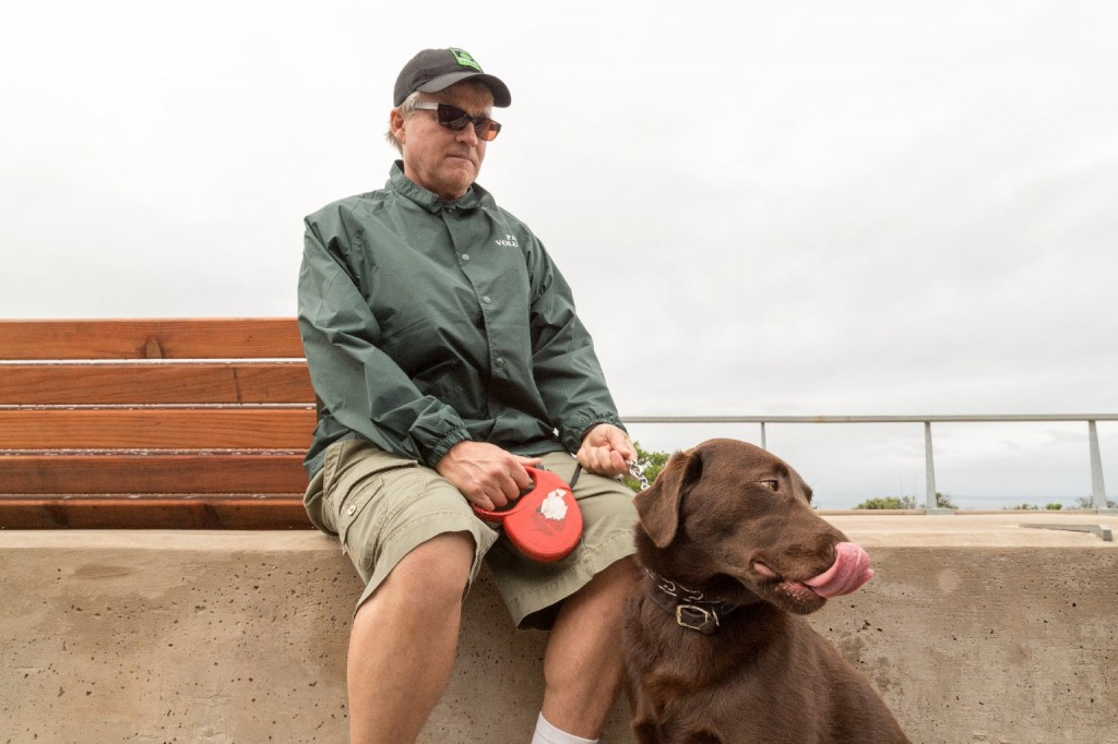 Don Traeger says his dog Maverick always wants to jump over the rail because it's so interesting on the other side. (Josh Cassidy/KQED)