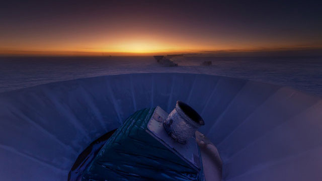 The BICEP2 telescope at twilight in the South Pole. (Steffen Richter)