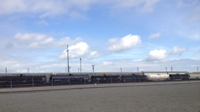 Tank cars parked in Richmond. (Molly Samuel/KQED)