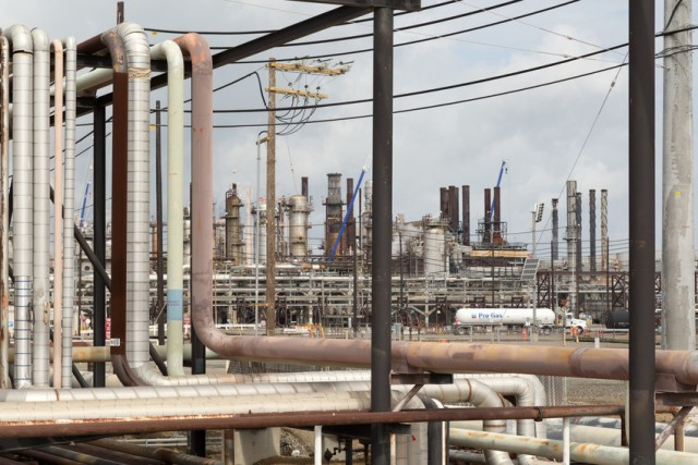 Pipes inside the refinery. (Josh Cassidy/KQED)