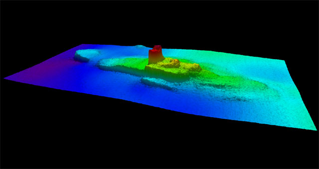 Profile view of the SS City of Chester on the floor of the San Francisco Bay, created with multi-beam sonar. (NOAA Office of National Marine Sanctuaries NRT6)