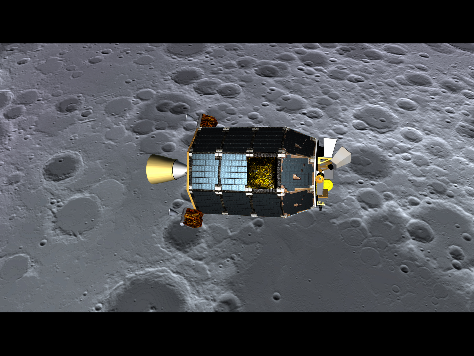 An artist's depiction of LADEE in orbit around the moon. (Dana Berry/NASA Ames)