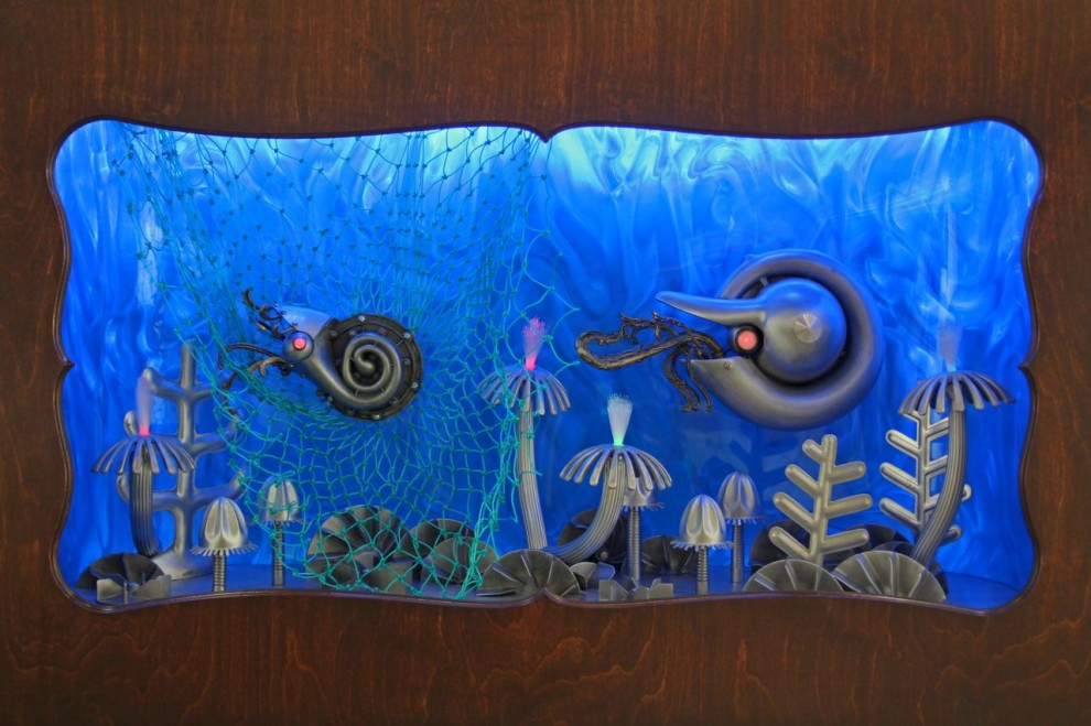 This nautilus diorama by artist Nemo Gould represents the threat of overfishing. (Nemo Gould)