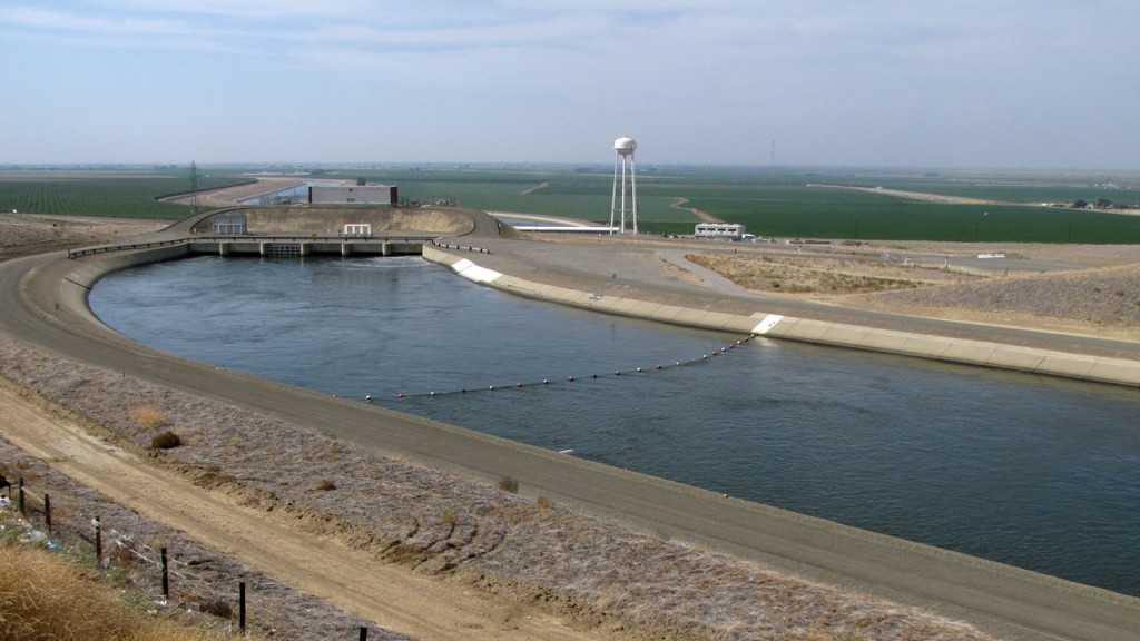 A 47-mile section of the California Aqueduct could flow backwards during the drought. (Craig Miller/KQED)