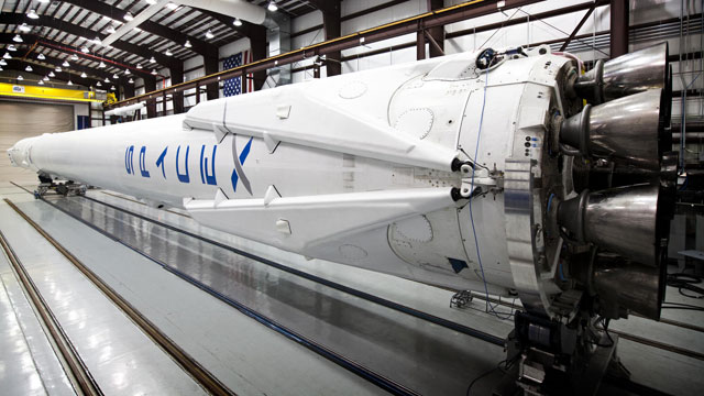 Falcon 9 in SpaceX's hangar. (SpaceX)