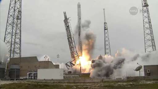 Liftoff of the SpaceX Falcon 9 rocket carrying the Dragon spacecraft to the International Space Station. (NASA)