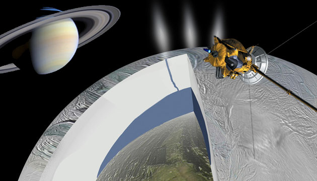 Artist concepts of interior of Enceladus and NASA's Cassini spacecraft. (NASA)