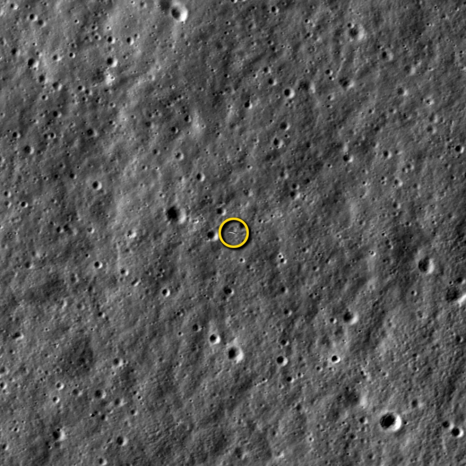 That little sliver is the LADEE spacecraft, designed in Mountain View and photographed by another NASA mission, the Lunar Reconnaissance Orbiter. (NASA/ Goddard/Arizona State University)