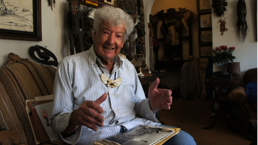 "Ray ""Bones"" Bandar has spent six decades finding and cleaning animal bones. (Lauren Sommer/KQED)"