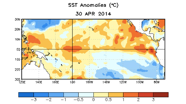 Surface temperatures trending at least 0.5 degrees above normal point to a likely summer El Nino. (NOAA)