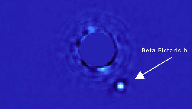 GPI image of exoplanet Beta Pictoris b. (Processing by Christian Marois/NRC Canada)