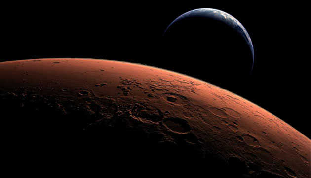 Earth and Mars montage