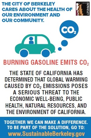 A working concept of Berkeley's gas pump warning label. (Courtesy Raymond Pajek)