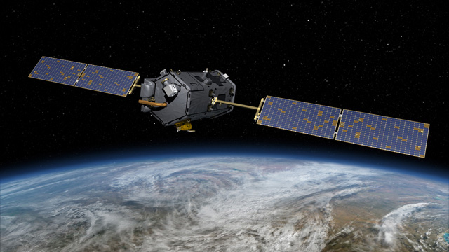 Artist's conception of the OCO-2 satellite in orbit. Scientists hope it will yield the most precise picture yet of Earth's carbon cycle. (NASA-JPL)