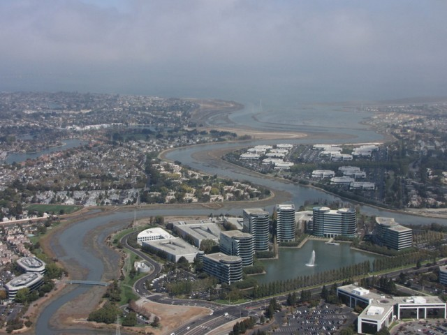 Oracle's headquarters in Redwood Shores is built on landfill in an area that was once marsh. (Molly Samuel/KQED with aerial support from LightHawk)
