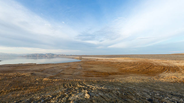 Low water levels at San Luis Reservoir in February, 2014. (Josh Cassidy/KQED)