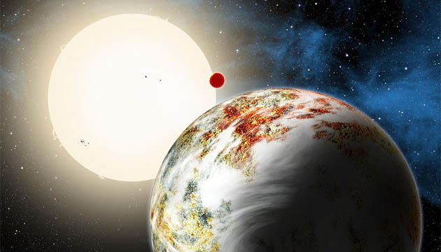 Artist concept of exoplanet Kepler 10c (David Aguilar/Harvard-Smithsonian Center for Astrophysics)