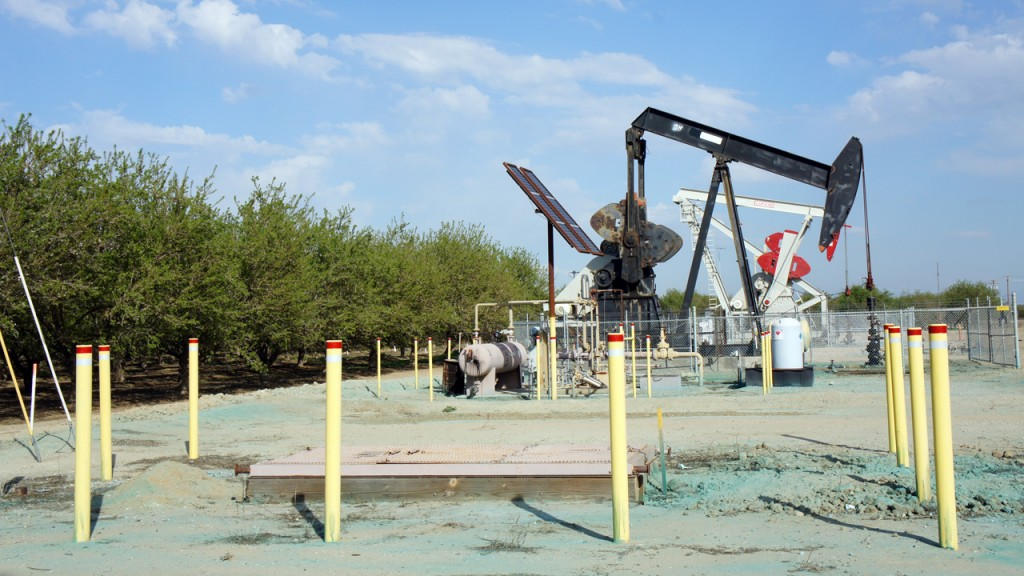 An oil well next to orchards in Shafter, California, where oil companies have been fracking. (Lauren Sommer/KQED)