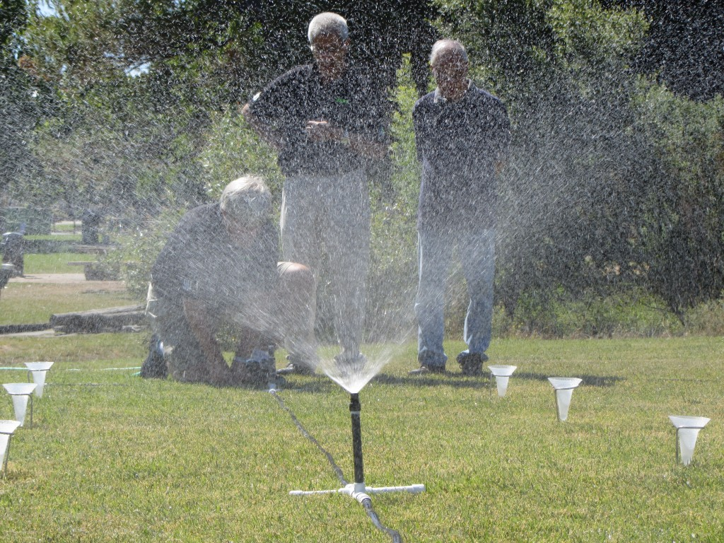 The Department of Water Resources and UC Davis held a training for landscapers in Walnut Creek. They did a demonstration on measuring the precipitation rate of a sprinkler system. (Sally Schilling)