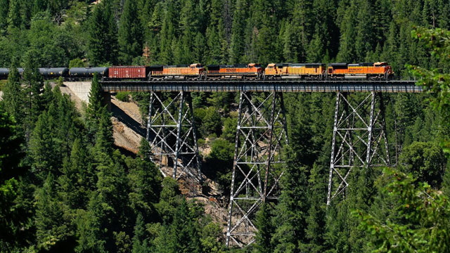 A BNSF train with tank cars crosses a trestle in the Feather River Canyon in Northern California. (Courtesy of Jake Miille)