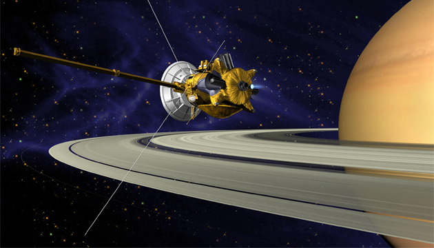 Cassini-Huygens spacecraft on arrival at Saturn. (NASA)