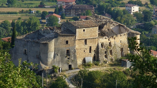 Italian castle with quake damage