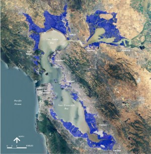 Potential inundation caused by 55-inch sea level rise by 2100.