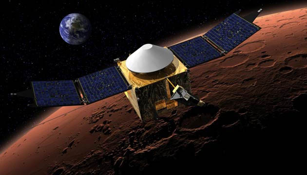 Artist concept of NASA's MAVEN spacecraft. (NASA)