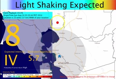 Screengrab from UC Berkeley ShakeAlert video.