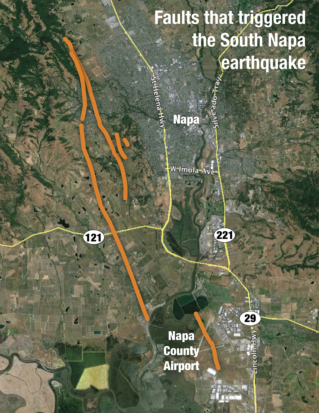 Orange lines show where surface clues reveal the likely source faults for the South Napa Earthquake. Some areas reveal up to about 18 inches of lateral displacement. (USGS)