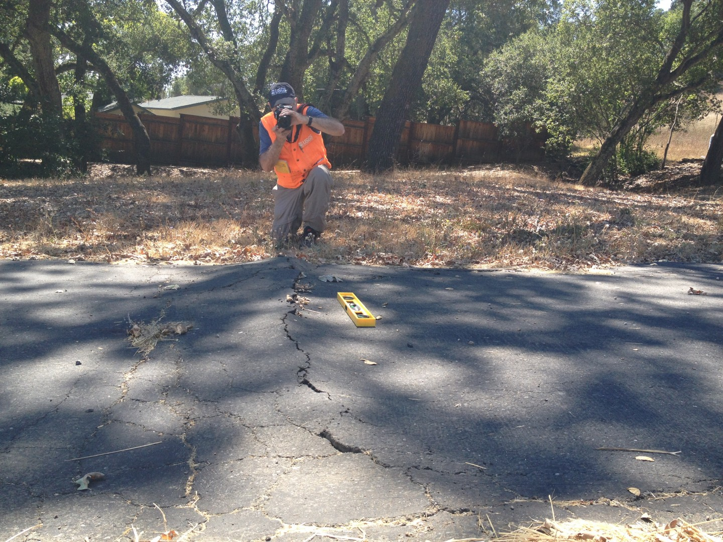 USGS Geologist David Schwartz identifies surface cracks in the west Napa Valley that show lateral slip, a clue to the location of faults that caused the magnitude-6 South Napa Earthquake on August 24, 2014.
