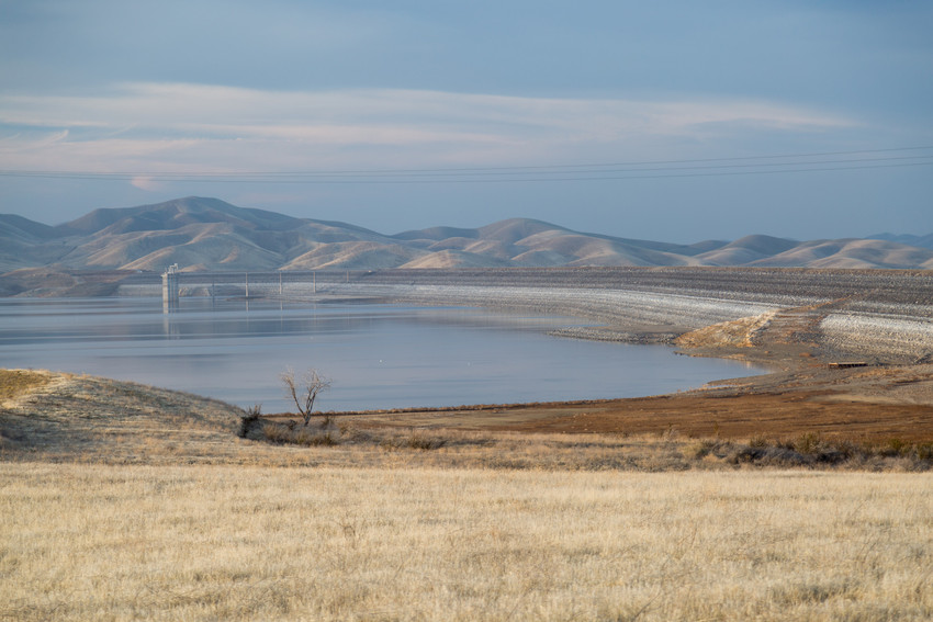 At the end of the water year, San Luis Reservoir is at less than a quarter of its capacity. (Josh Cassidy/KQED)