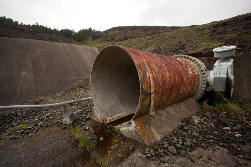 A pipe leading to the Peters Dam spillway in Marin County, photographed in March, 2014. (Mark Andrew Boyer/KQED)