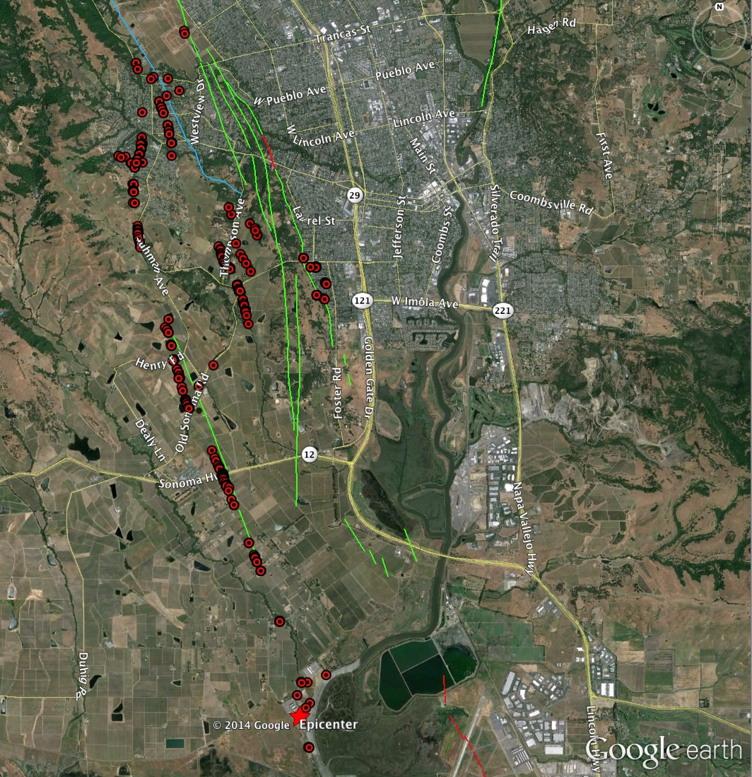 Red dots indicate where scientists had located surface fractures that trace underlying faults, as of August 26. (USGS)