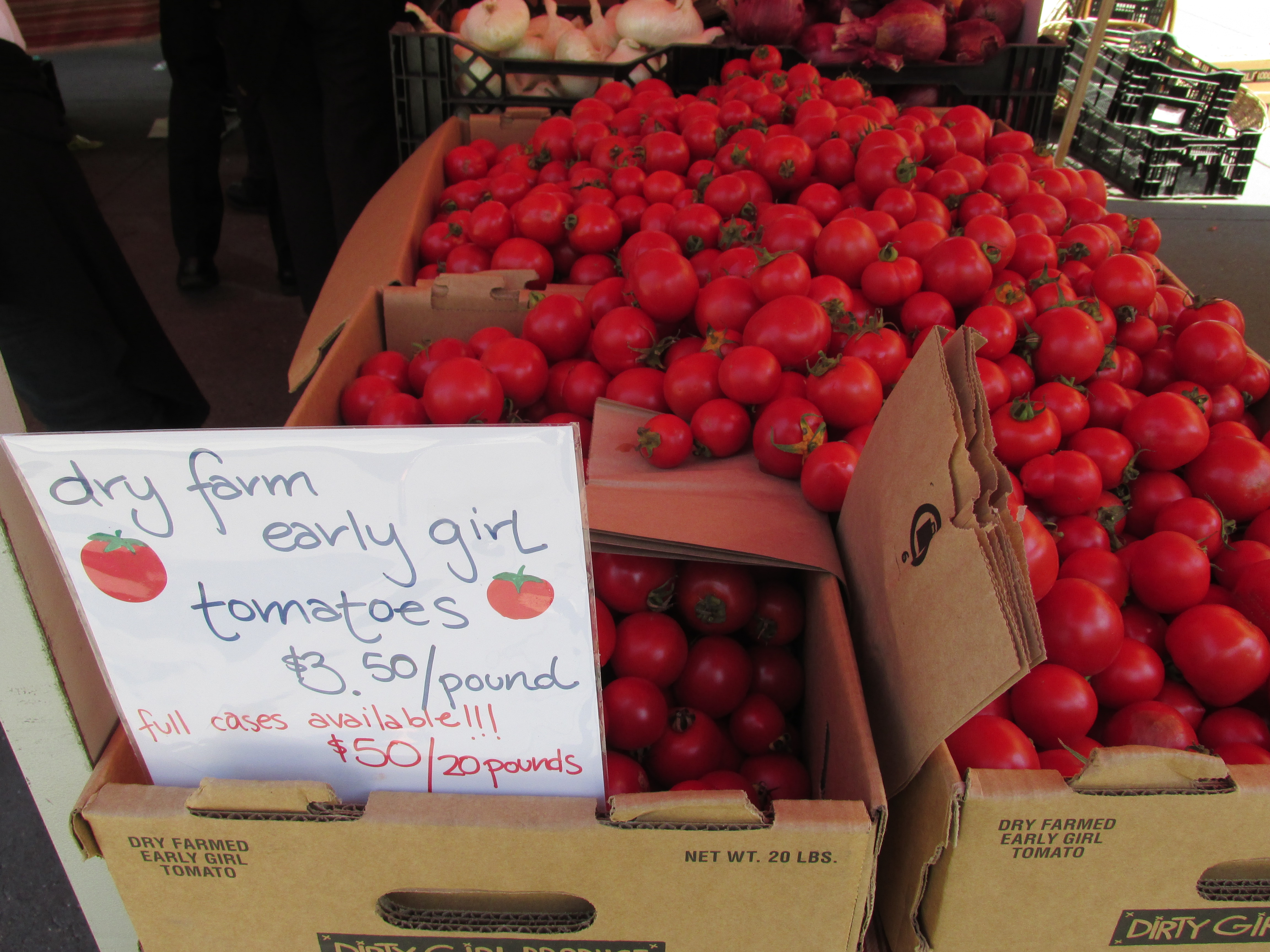 Customers at the farmer's market in San Francisco's ferry building were snapping up these tomatoes from Dirty Girl Produce, grown without irrigation.
