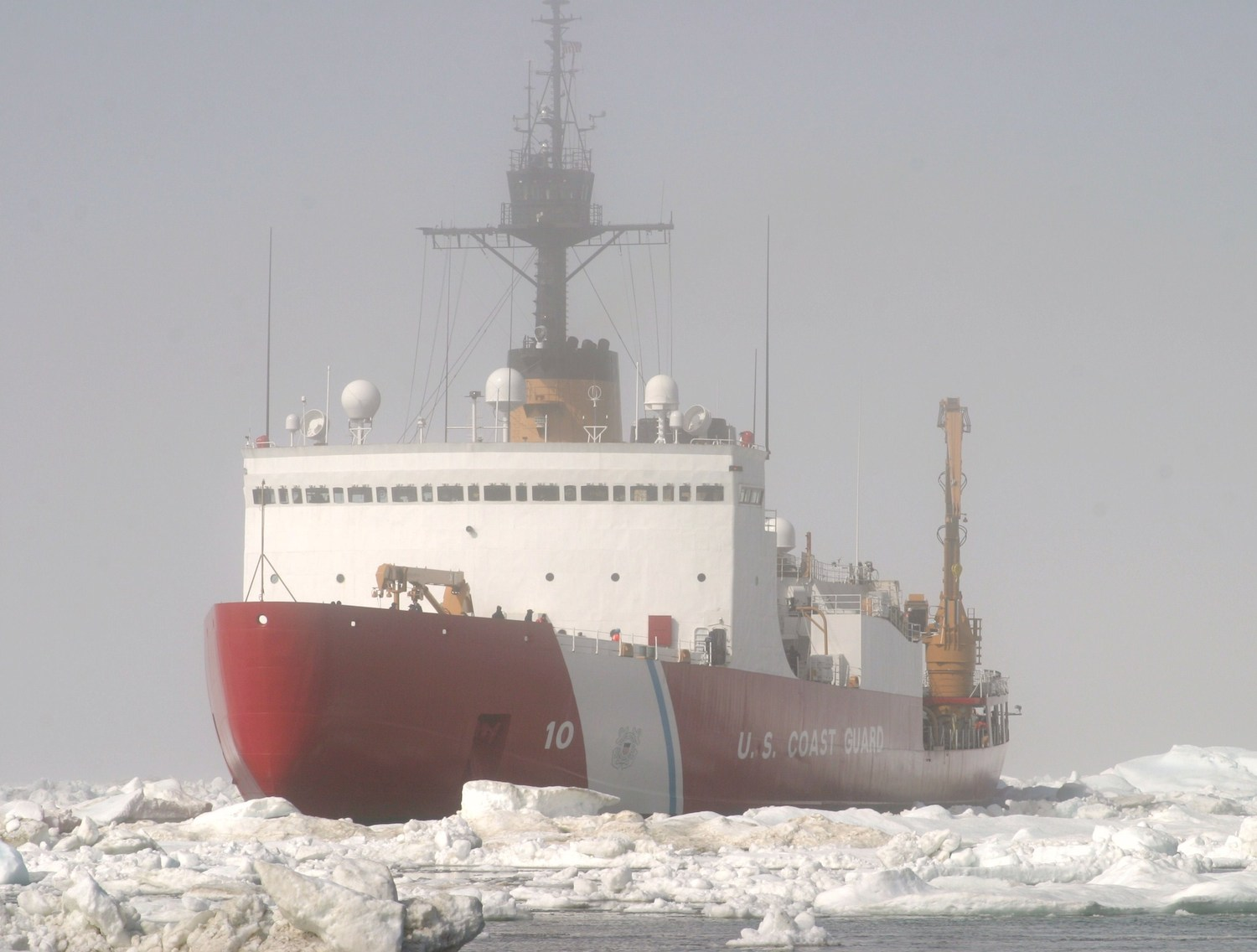 The Polar Star in sea ice off Antarctica. (U.S. Coast Guard)