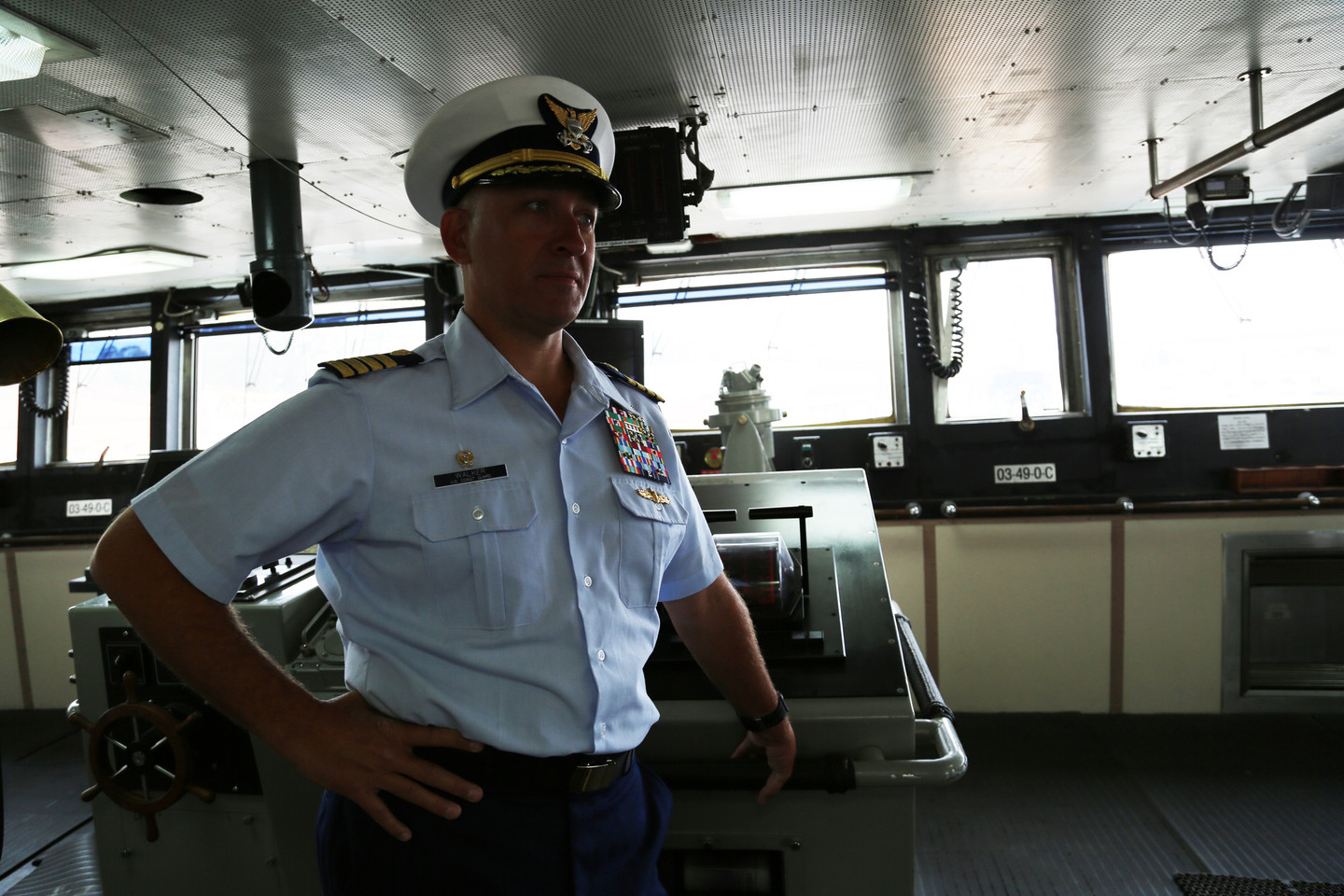 Captain Matt Walker on the bridge of the USCGC Polar Star, the only active heavy-duty icebreaker in the U.S. fleet (Adam Grossberg/KQED)