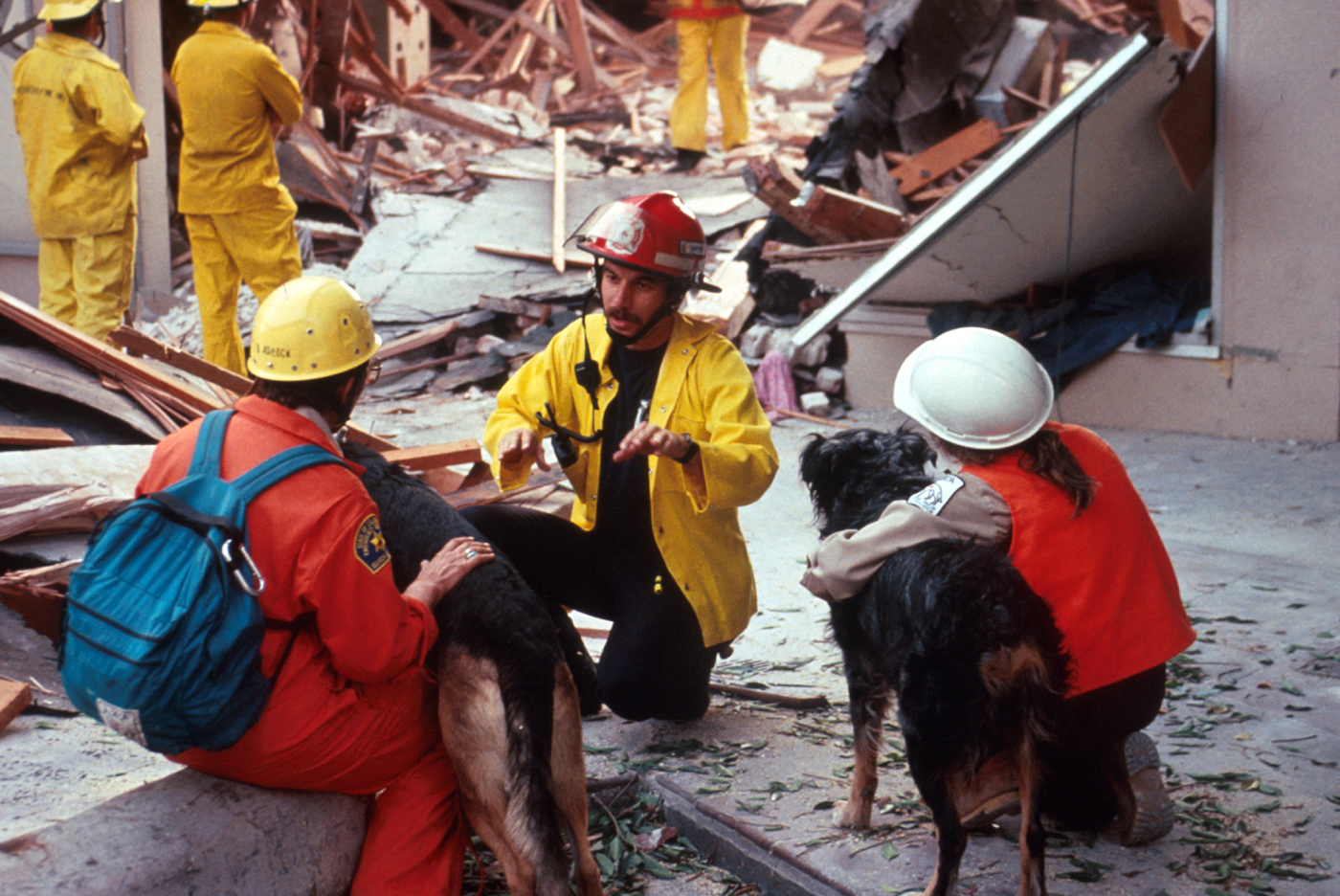 First responders search for victims at a collapsed department store in the Pacific Garden Mall in Santa Cruz. (U.S. Geological Survey)