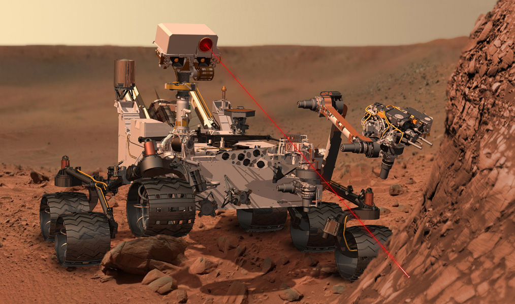 An artist's rendering of the methane gas detector at work on Mars. (NASA/JPL-Caltech)