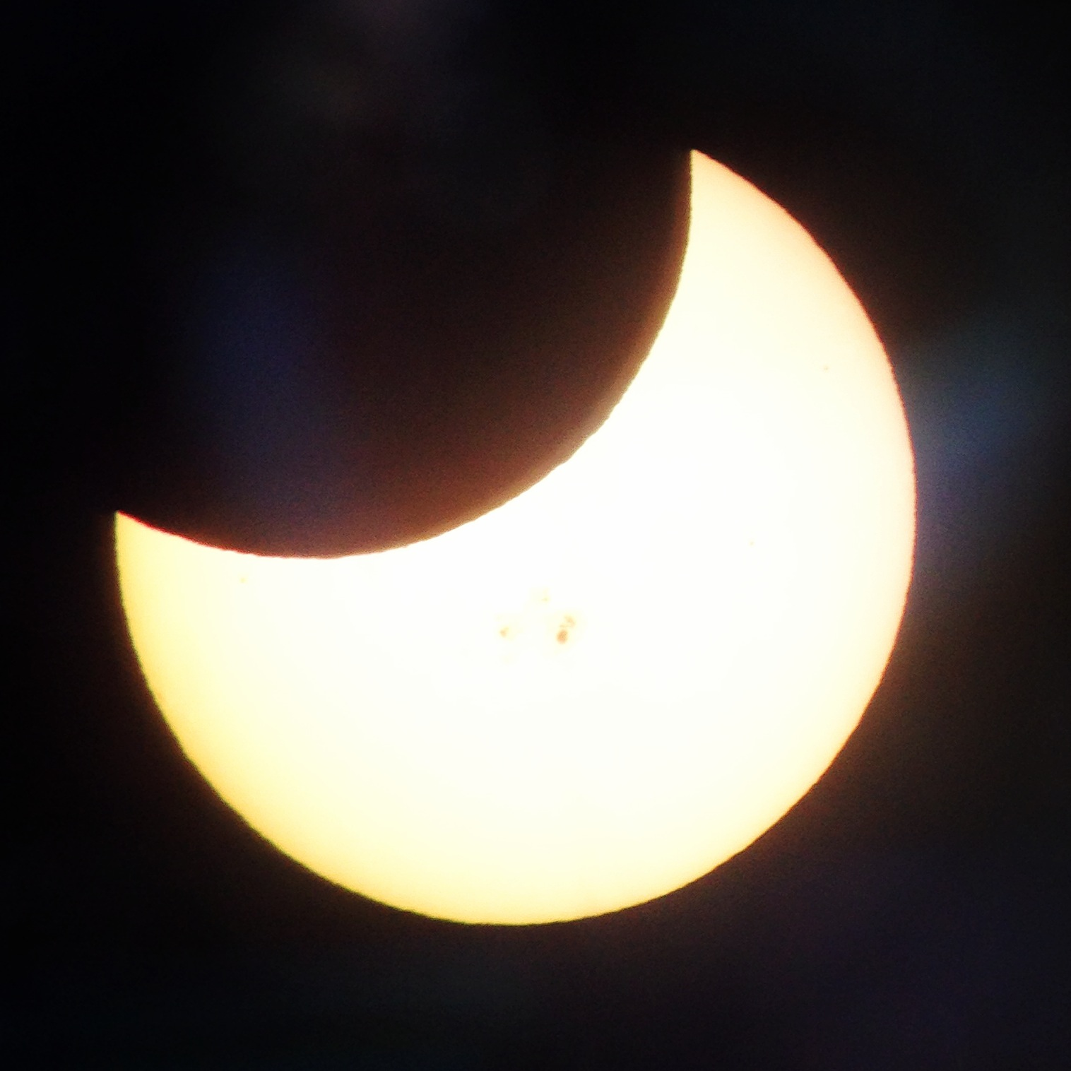 The moon obscured about 40 percent of the sun in Thursday's eclipse. (Courtesy of Shannon Rosa)